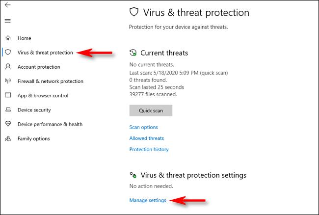 Cliquez sur gérer les paramètres dans la sécurité Windows sur Windows 10