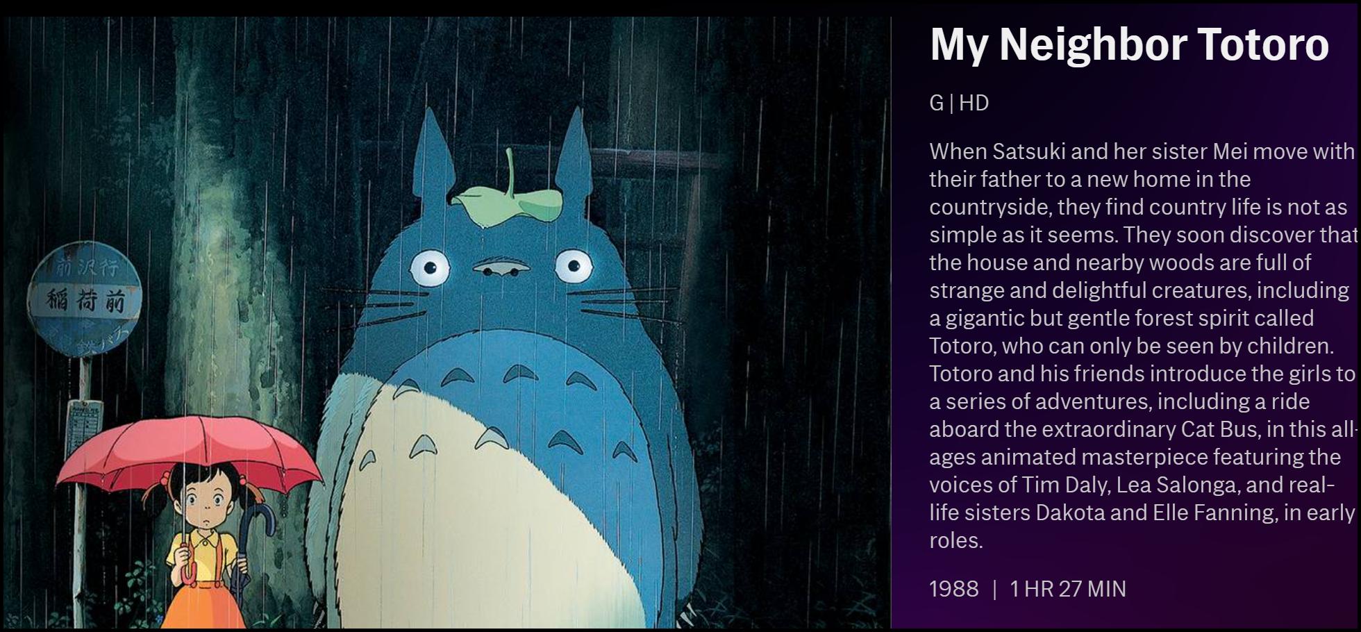 "La description de ""Mon voisin Totoro"" sur HBO Max."