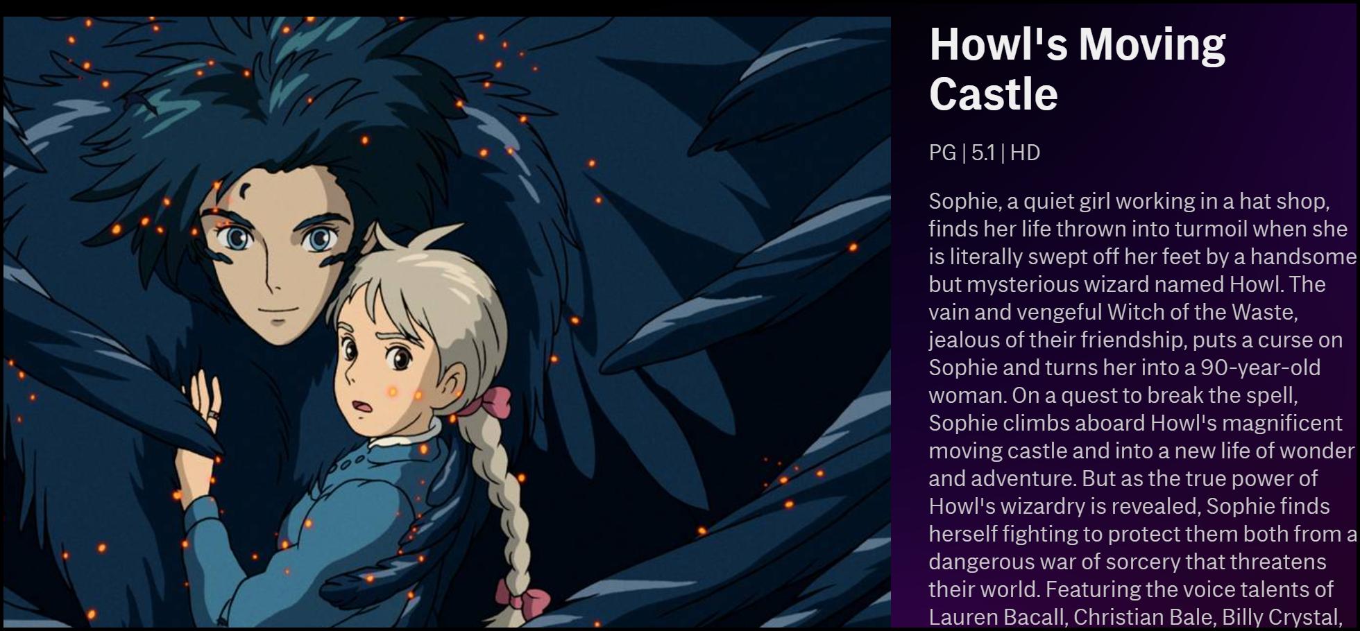 """La description de """"Le château en mouvement de Howl"""" sur HBO Max."""