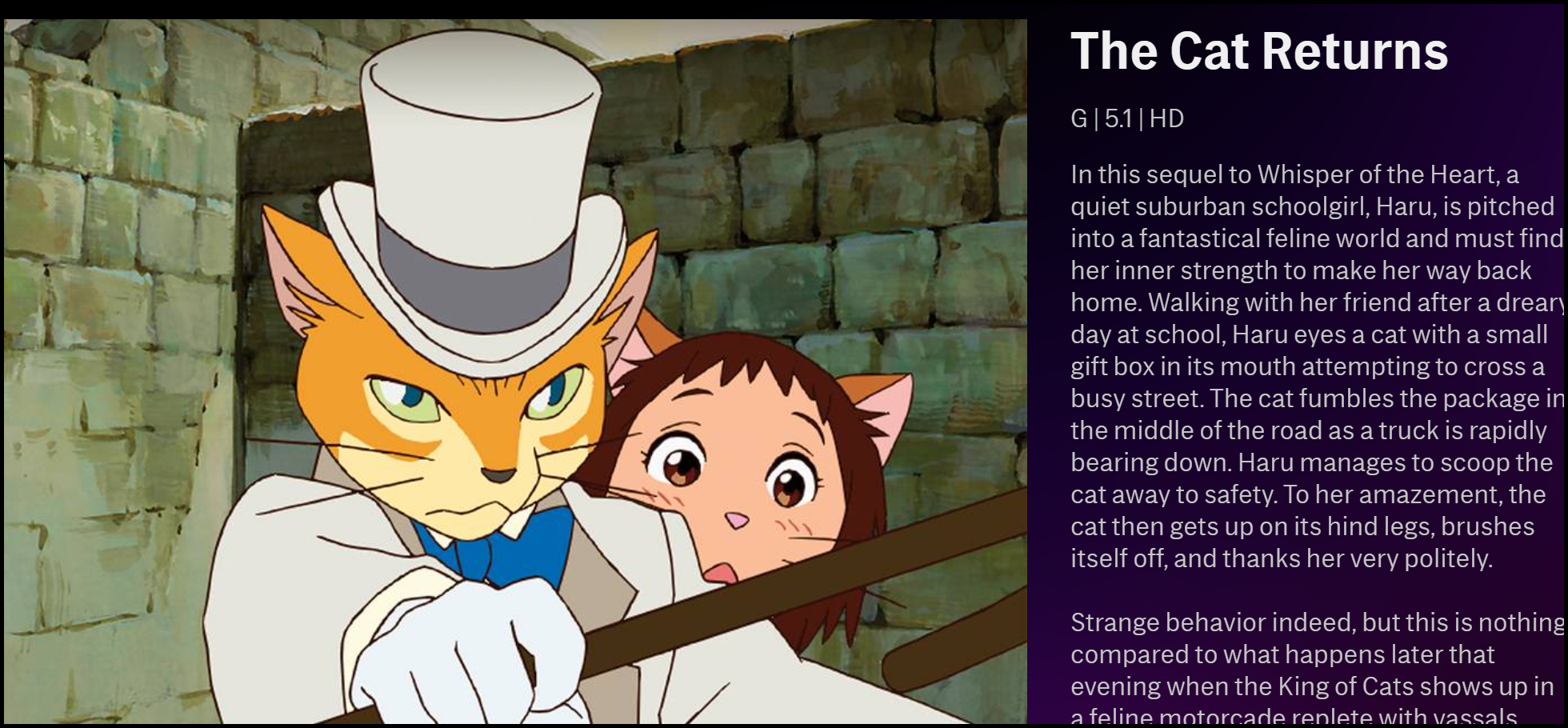 """La description de """"The Cat Returns"""" sur HBO Max."""