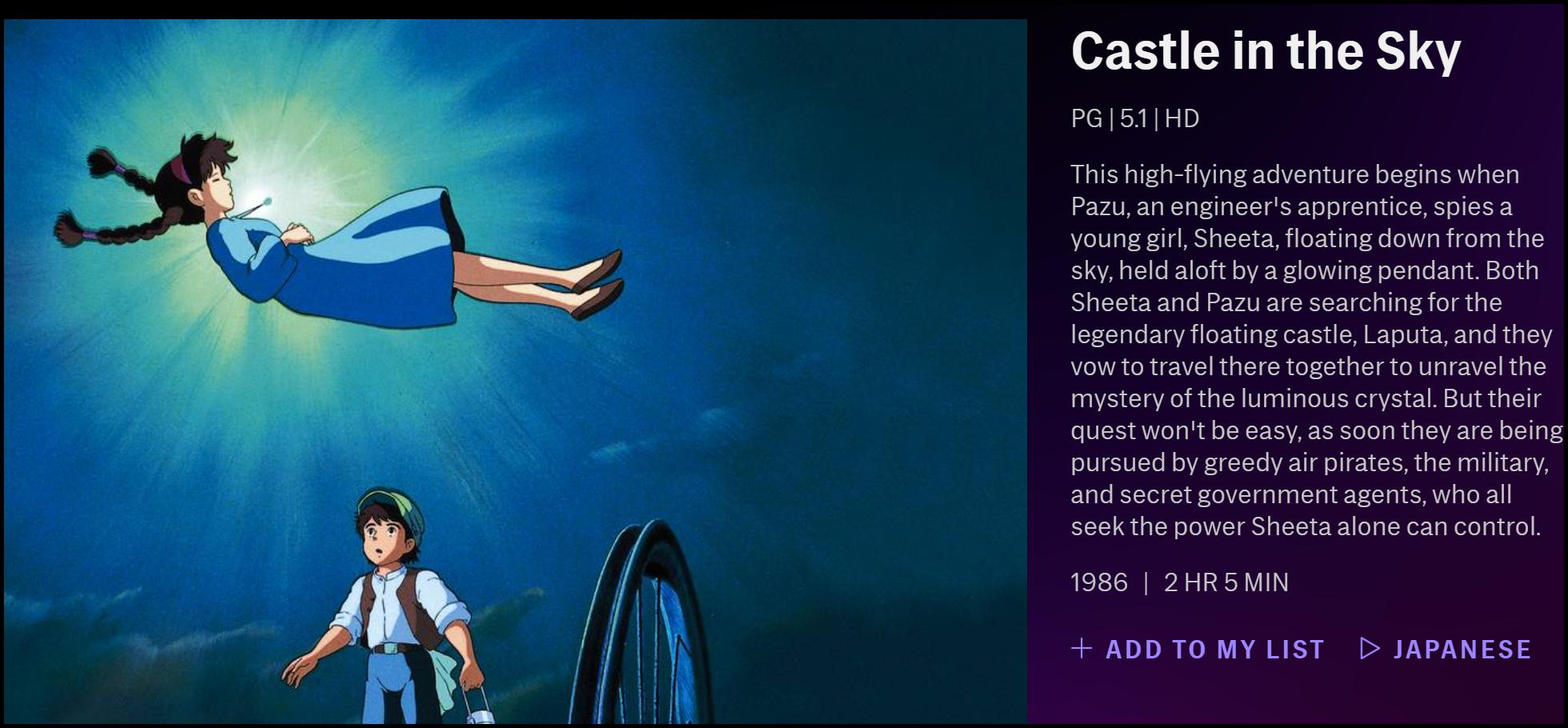 """La description de """"Castle in the Sky"""" sur HBO Max."""