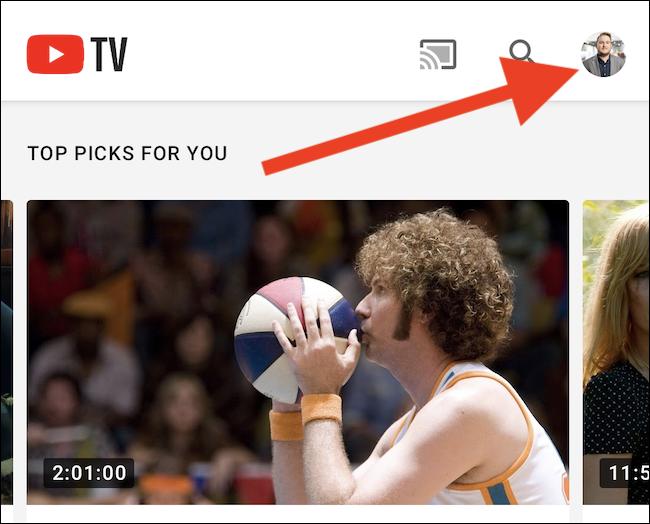 Cliquez sur votre avatar YouTube TV dans le coin supérieur droit de l'application