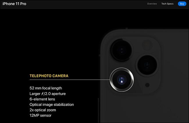 Les détails de la caméra téléobjectif sur l'iPhone 11 Pro.