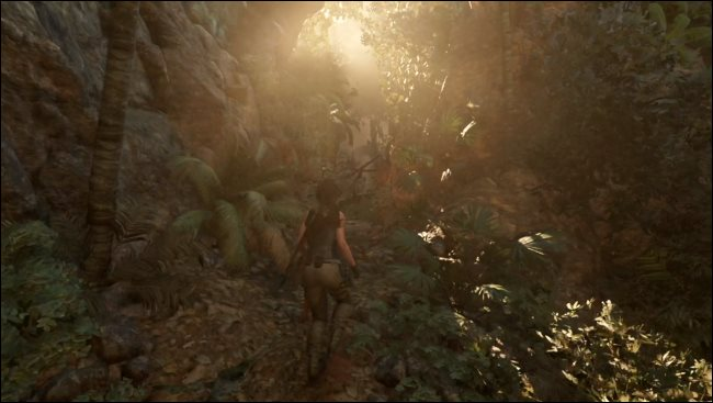 Un jeu Tomb Raider fonctionnant via Rosetta 2 sur un Mac.