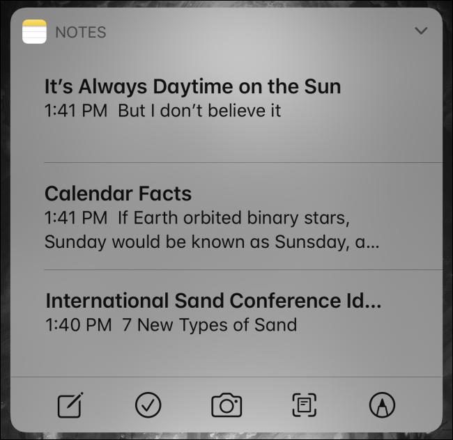 Utilisation du widget Notes sur iPhone