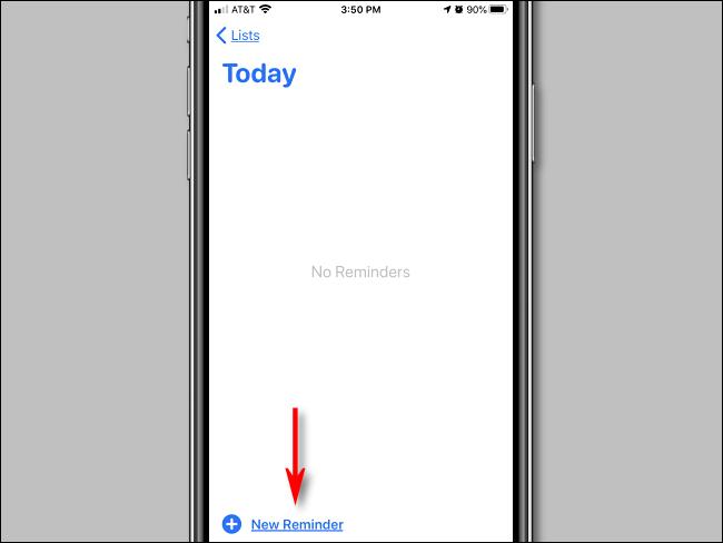 Appuyez sur Nouveau rappel dans l'application Rappels sur iPhone