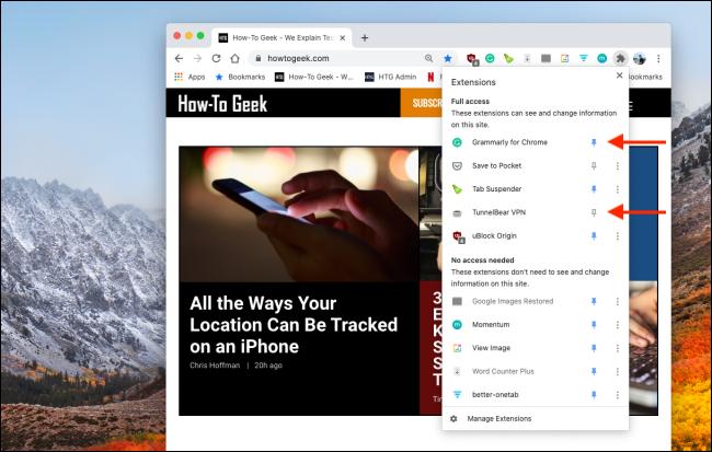 Épingler ou désépingler des extensions Chrome