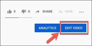 Appuyez sur le bouton Modifier la vidéo sur une vidéo YouTube