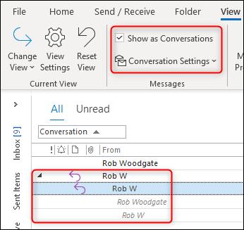 """Outlook """"Vue de conversation"""" fonctionne correctement."""