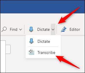 Option de transcription sous Dicter
