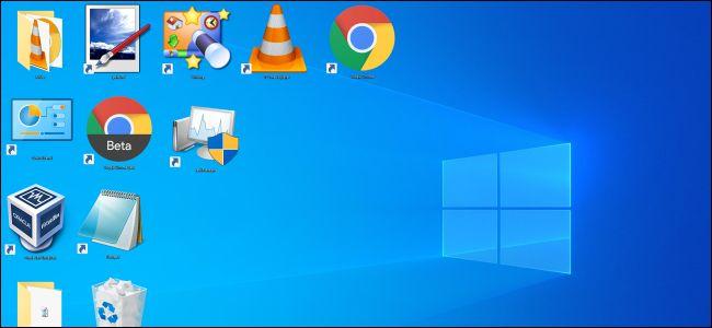 Grandes icônes sur un bureau Windows 10.