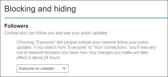 Affichage public des abonnés LinkedIn