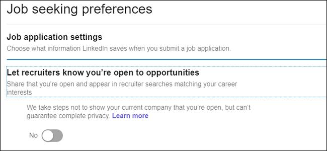 Préférences de recherche d'emploi ouvertes aux opportunités
