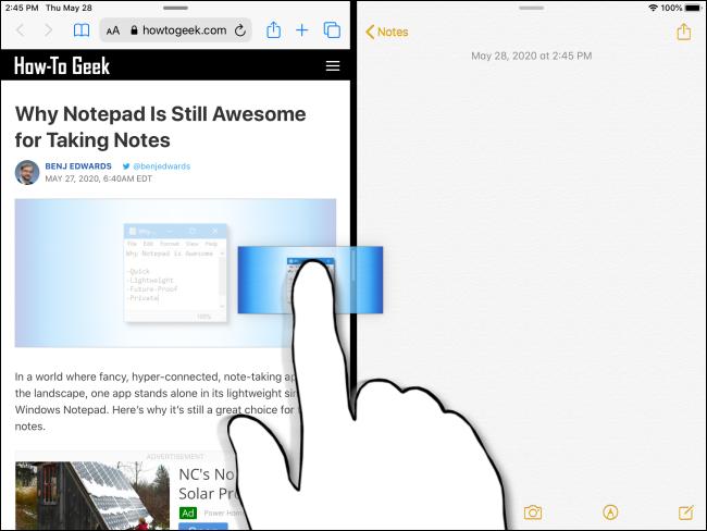 Faire glisser une image entre les applications sur iPad.