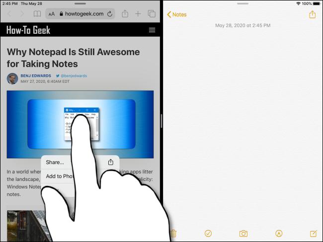 Maintenez votre doigt sur une image jusqu'à ce qu'elle apparaisse sur l'iPad.