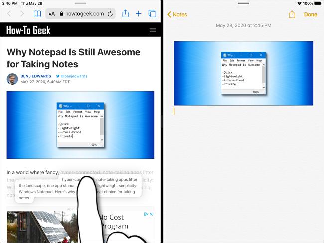 Maintenez votre doigt sur le texte sélectionné jusqu'à ce qu'il apparaisse sur l'iPad.