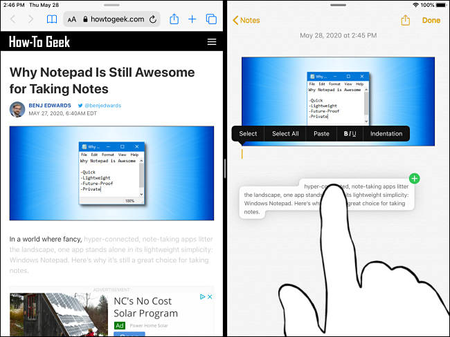 Faites glisser le texte jusqu'à ce que vous voyiez un signe plus vert sur l'iPad.