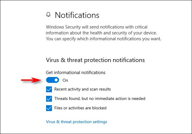 Notifications de protection contre les virus et les menaces dans Windows 10