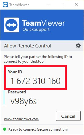 Le client TeamViewer QuickSupport.
