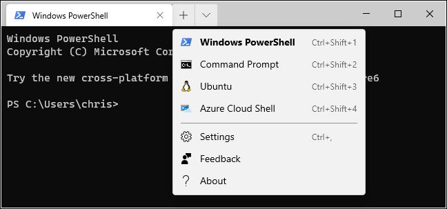 Nouvelles options d'onglet dans le terminal Windows.