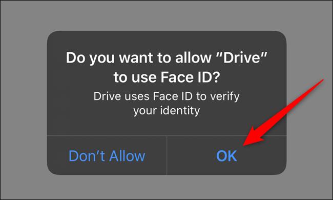 Autorisez Google Drive à accéder à Face ID ou Touch ID