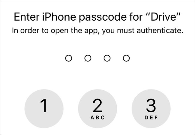 Sans autorisation, Google Drive utilisera le code d'accès de l'écran de verrouillage de votre appareil
