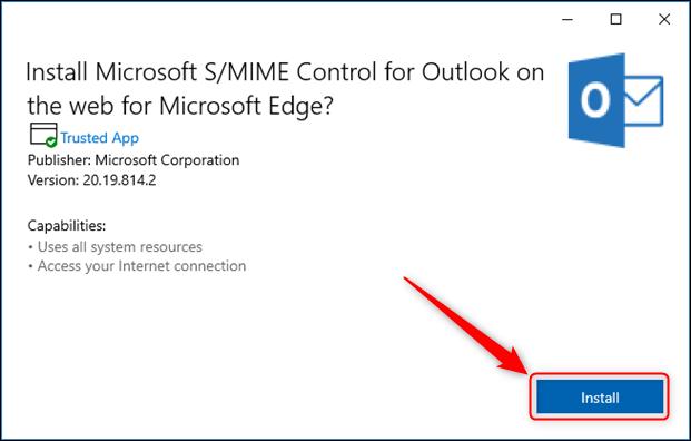Le panneau d'installation de S / MIME Control.