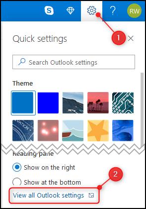 """Outlook """"Afficher tous les paramètres Outlook"""" option."""