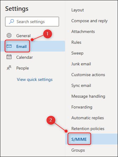 """Le menu Paramètres d'Outlook, avec le """"S / MIME"""" option mise en évidence."""