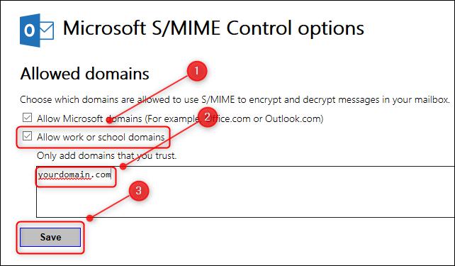 """Le panneau """"Options de contrôle S / MIME""""."""