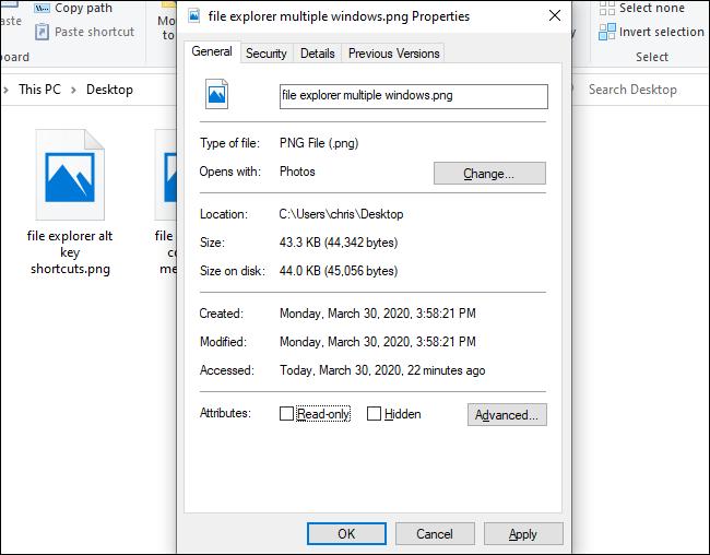 La fenêtre Propriétés dans l'Explorateur de fichiers.