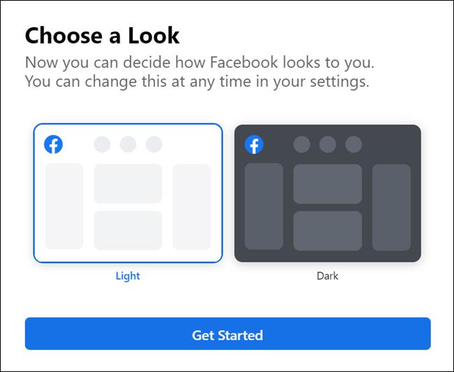 Nouvelle option de thème sombre Facebook
