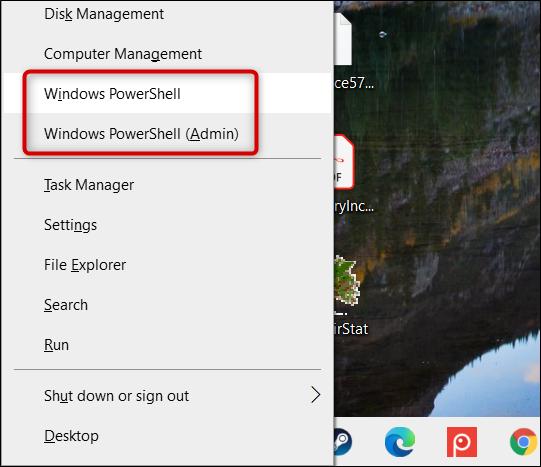 Cliquez sur «Windows PowerShell» ou «Windows PowerShell (Admin)».