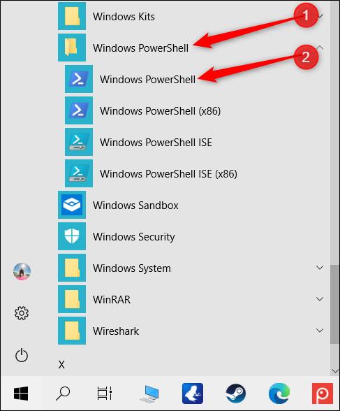 Cliquez sur le dossier «Windows PowerShell», puis sur «Windows PowerShell».