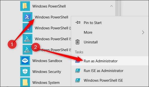 """Cliquez avec le bouton droit sur """"Windows PowerShell"""", puis cliquez sur """"Exécuter en tant qu"""