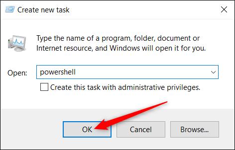 """Tapez """"powershell"""" dans la zone de texte, puis cliquez sur """"OK""""."""
