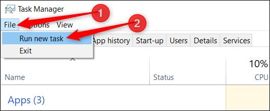 """Cliquez sur """"Fichier"""", puis cliquez sur """"Exécuter une nouvelle tâche""""."""