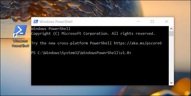 Une fenêtre «Windows PowerShell» s