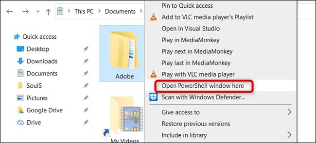 Cliquez sur «Ouvrir la fenêtre PowerShell ici».
