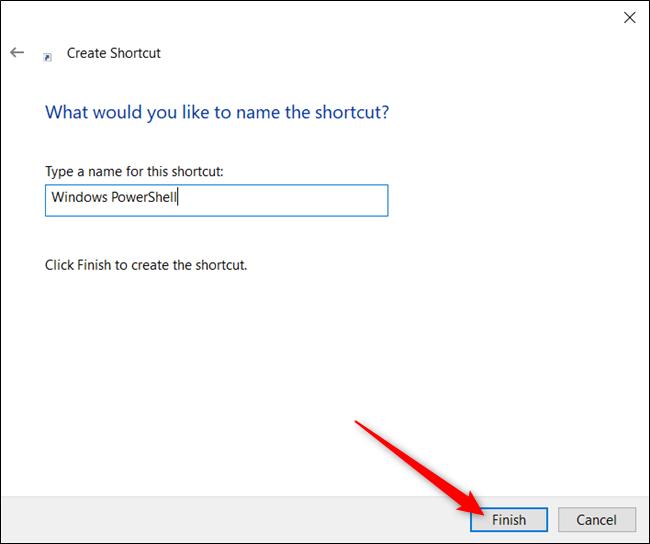 Tapez un nom pour votre raccourci dans la zone de texte, puis cliquez sur «Terminer».