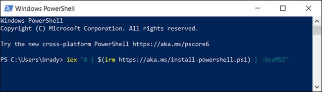 Tapez la commande suivante pour télécharger le package MSI à partir de PowerShell.