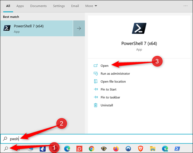 Recherchez PowerShell dans la barre de recherche Windows.