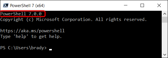 Vérifiez que vous exécutez PowerShell 7 dans le coin supérieur du programme.