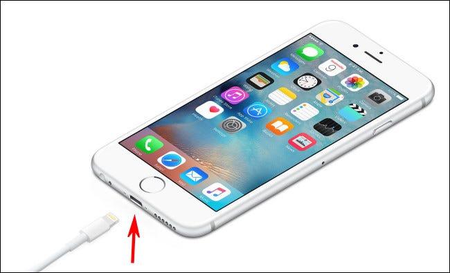 Photo d'un iPhone avec un port Lightning