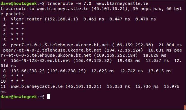 """La commande """"traceroute -w 7.0 blarneycastle.ie"""" dans une fenêtre de terminal."""