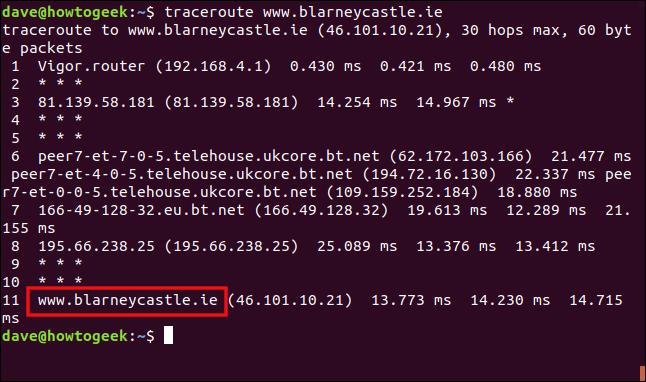 """La commande """"traceroute www.blarneycastle.ie"""" dans une fenêtre de terminal."""