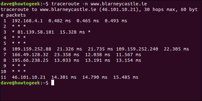 """La commande """"traceroute -n blarneycastle.ie"""" dans une fenêtre de terminal."""