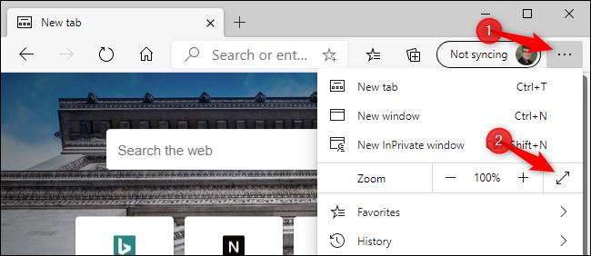Activation du mode plein écran dans le nouveau Microsoft Edge avec une souris.