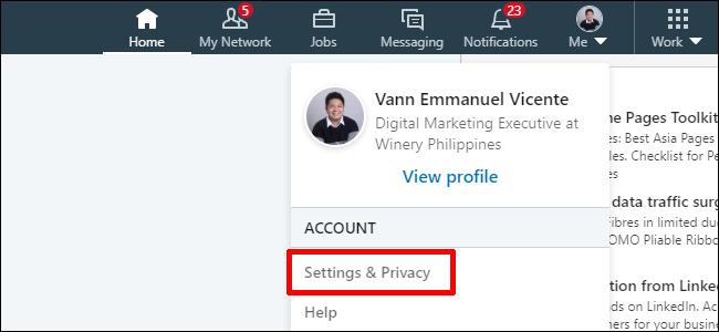 Paramètres de confidentialité Linkedin