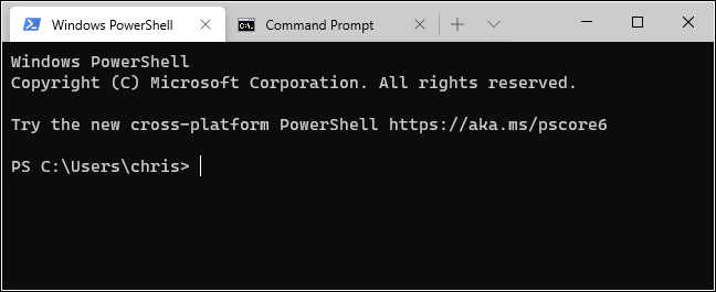 Onglets PowerShell et Invite de commandes dans le terminal Windows.
